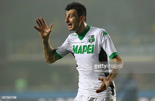 Francesco Acerbi of US Sassuolo Calcio reacts during the Serie A match between Atalanta BC and US Sassuolo Calcio at Stadio Atleti Azzurri d'Italia...