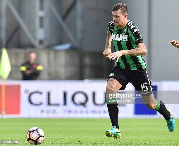 Francesco Acerbi of US Sassuolo in action during the Serie A match between US Sassuolo and Genoa CFC at Mapei Stadium Citta' del Tricolore on...
