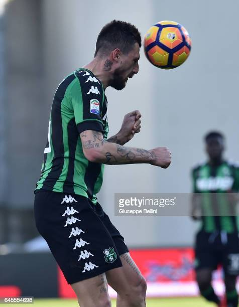 Francesco Acerbi of US Sassuolo in action during the Serie A match between US Sassuolo and AC Milan at Mapei Stadium Citta' del Tricolore on February...