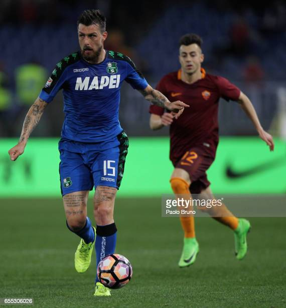 Francesco Acerbi of US Sassuolo in action during the Serie A match between AS Roma and US Sassuolo at Stadio Olimpico on March 19 2017 in Rome Italy