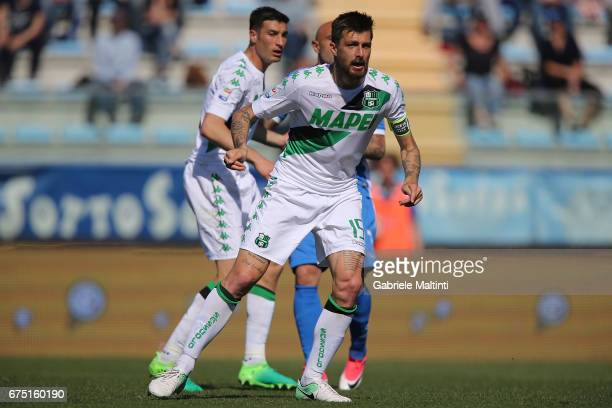 Francesco Acerbi of US Sassuolo in action during the Serie A match between Empoli FC and US Sassuolo at Stadio Carlo Castellani on April 30 2017 in...