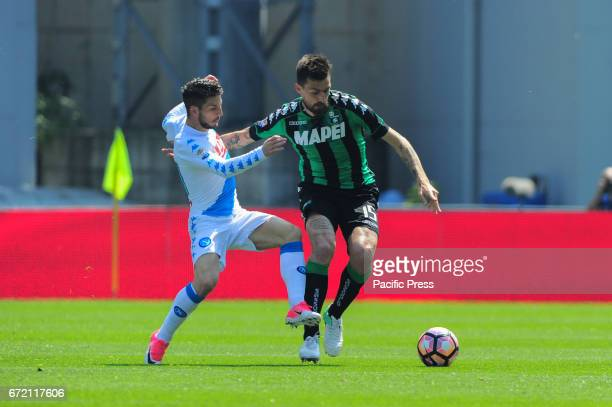 Francesco Acerbi Sassuolo's defender and national team of Italy and Dries Mertens SSCNapoli's midfielder and national team of Belgium fight for the...