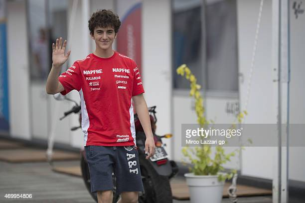 Francesco Bagnaia of Italy and Mapfre Mahindra Team greets in paddock during the MotoGp of Argentina Previews on April 16 2015 in Rio Hondo Argentina