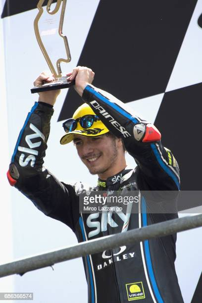 Francesco Bagnaia of Italy and Sky Racing Team VR46 celebrates the second place on the podium at the end of the the Moto2 race during the MotoGp of...