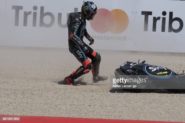 Francesco Bagnaia of Italy and Sky Racing Team VR46 crashed out during the MotoGp of Italy Qualifying at Mugello Circuit on June 3 2017 in Scarperia...