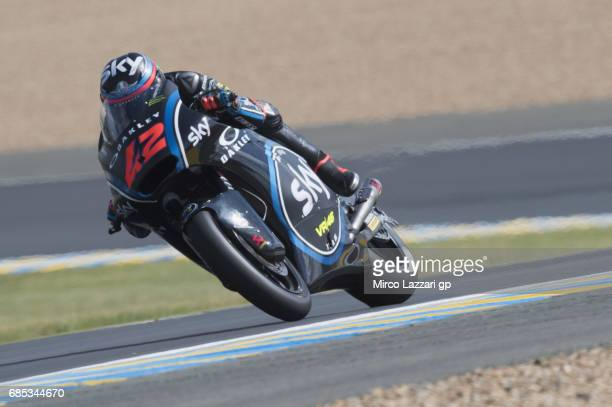 Francesco Bagnaia of Italy and Sky Racing Team VR46 heads down a straight during the MotoGp of France Free Practice on May 19 2017 in Le Mans France