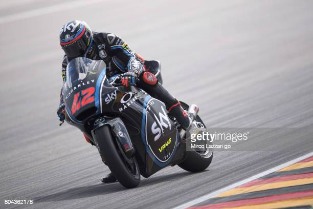 Francesco Bagnaia of Italy and Sky Racing Team VR46 heads down a straight during the MotoGp of Germany Free Practice at Sachsenring Circuit on June...