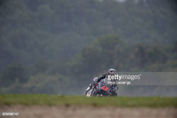 Francesco Bagnaia of Italy and Sky Racing Team VR46 heads down a straight during the MotoGp of Czech Republic Free Practice at Brno Circuit on August...