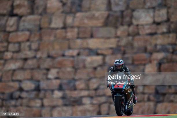 Francesco Bagnaia of Italy and Sky Racing Team VR46 heads down a straight during the MotoGP of Aragon Free Practice at Motorland Aragon Circuit on...