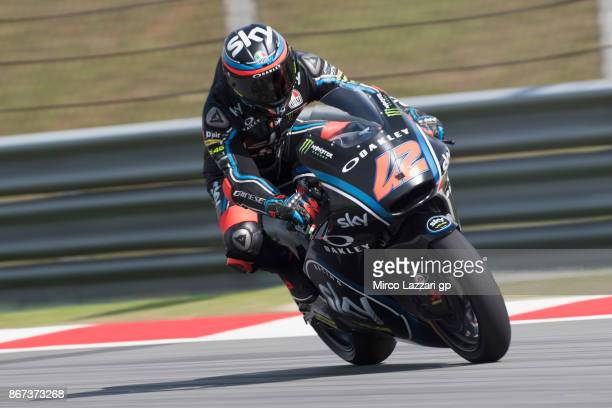 Francesco Bagnaia of Italy and Sky Racing Team VR46 heads down a straight during the qualifying practice during the MotoGP Of Malaysia Qualifying at...