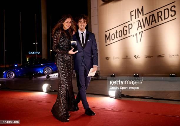 Francesco Bagnaia of Italy and Sky Racing Team Vr46 Kalex attends the FIM MotoGP Awards Ceremony at Palacio de Congresos de Valencia on November 12...