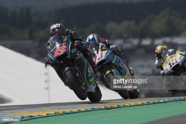 Francesco Bagnaia of Italy and Sky Racing Team VR46 leads the field during the Moto2 race during the MotoGp of France Race on May 21 2017 in Le Mans...