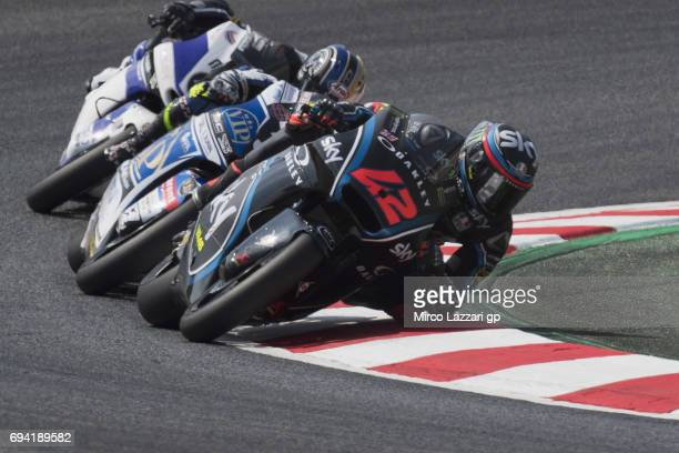 Francesco Bagnaia of Italy and Sky Racing Team VR46 leads the field during the MotoGp of Catalunya Free Practice at Circuit de Catalunya on June 9...