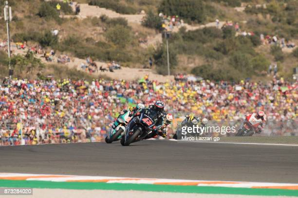 Francesco Bagnaia of Italy and Sky Racing Team VR46 leads the field during the Moto2 race during the Comunitat Valenciana Grand Prix Moto GP at...