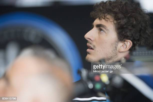 Francesco Bagnaia of Italy and Sky Racing Team VR46 looks on in box during the MotoGp of Czech Republic Free Practice at Brno Circuit on August 4...