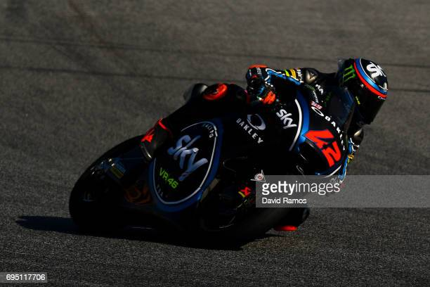 Francesco Bagnaia of Italy and Sky Racing Team VR46 rides during the Moto2 warmup ahead of the Moto2 race at Circuit de Catalunya on June 11 2017 in...