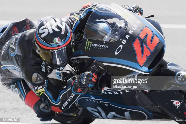 Francesco Bagnaia of Italy and Sky Racing Team VR46 rounds the bend during the MotoGp of Spain Qualifying at Circuito de Jerez on May 6 2017 in Jerez...