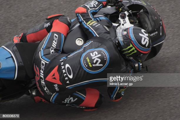 Francesco Bagnaia of Italy and Sky Racing Team VR46 rounds the bend during the MotoGp of Germany Qualifying at Sachsenring Circuit on July 1 2017 in...