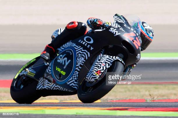 Francesco Bagnaia of Italy and Sky Racing Team VR46 rounds the bend during the Moto2 race during the MotoGP of Aragon Race at Motorland Aragon...