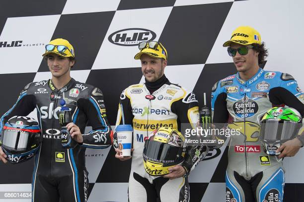 Francesco Bagnaia of Italy and Sky Racing Team VR46 Thomas Luthi of Switzerland and Carxpert Interwetten and Franco Morbidelli of Italy and EG 00...