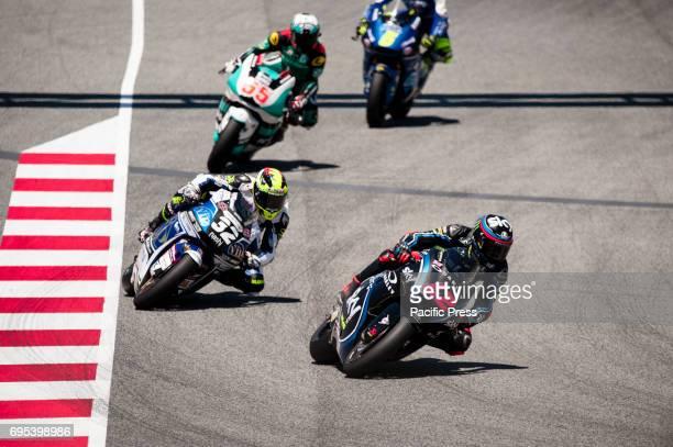 Francesco Bagnaia of the SKY Racing team The VR46 Moto2 team leads during MotoGP Gran Premi Monster Energy de Cataluny