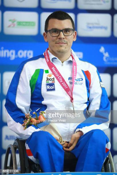 Francesco Betella of Italy Gold Medal celebrates after winning the men's 100 m Backstroke S1 during day 7 of the Para Swimming World Championship...