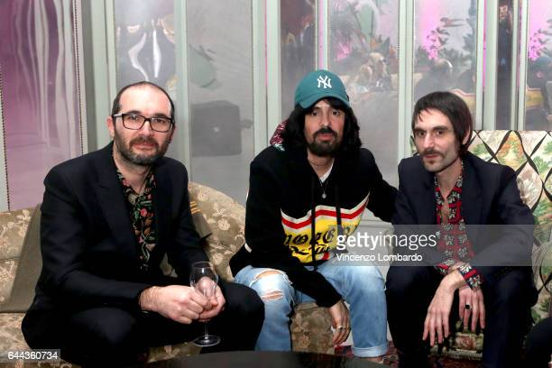 Francesco Bianconi and Claudio Brasini of 'Baustelle' with Alessandro Michele attend Gucci Eyewear Cocktail Party during Milan Fashion Week...