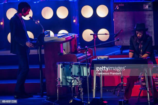 Francesco Bianconi and Rachele Bastreghi of Baustelle perform at Teatro Degli Arcimboldi on April 4 2017 in Milan Italy