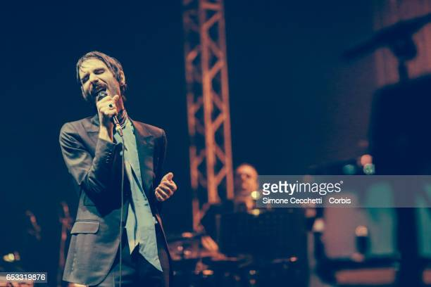 Francesco Bianconi of Baustelle peroms on stage on March 13 2017 in Rome Italy
