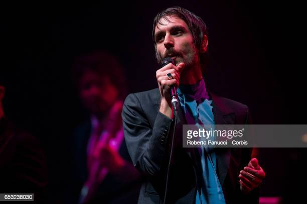 Francesco Bianconi of the Italian Indie Rock group Baustelle performs in concert at Auditorium Parco della Musica on March 13 2017 in Rome Italy