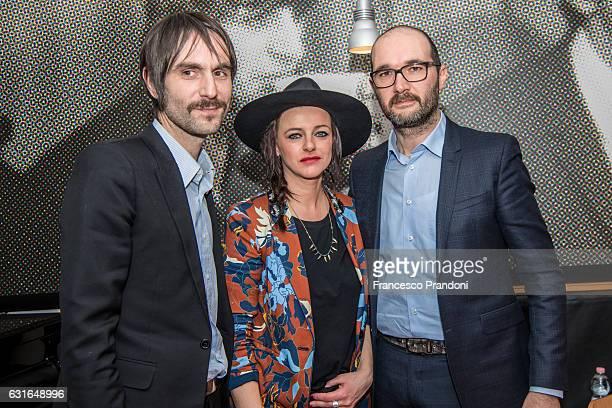 Francesco Bianconi Rachele Bastreghi and Claudio Brasini of Baustelle Meet The Audience at La Feltrinelli on January 13 2017 in Milan Italy