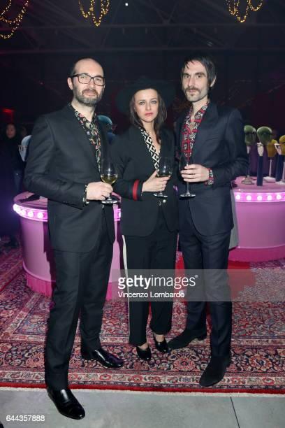 Francesco Bianconi Rachele Bastreghi and Claudio Brasini of 'Baustelle' attend Gucci Eyewear Cocktail Party during Milan Fashion Week Fall/Winter...