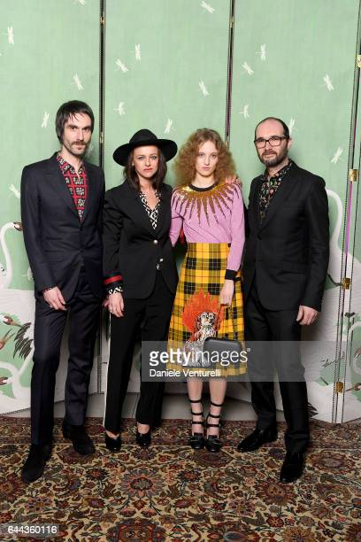 Francesco Bianconi Rachele Bastreghi and Claudio Brasini of 'Baustelle' and Petra Collins attend Gucci Eyewear Cocktail Party during Milan Fashion...
