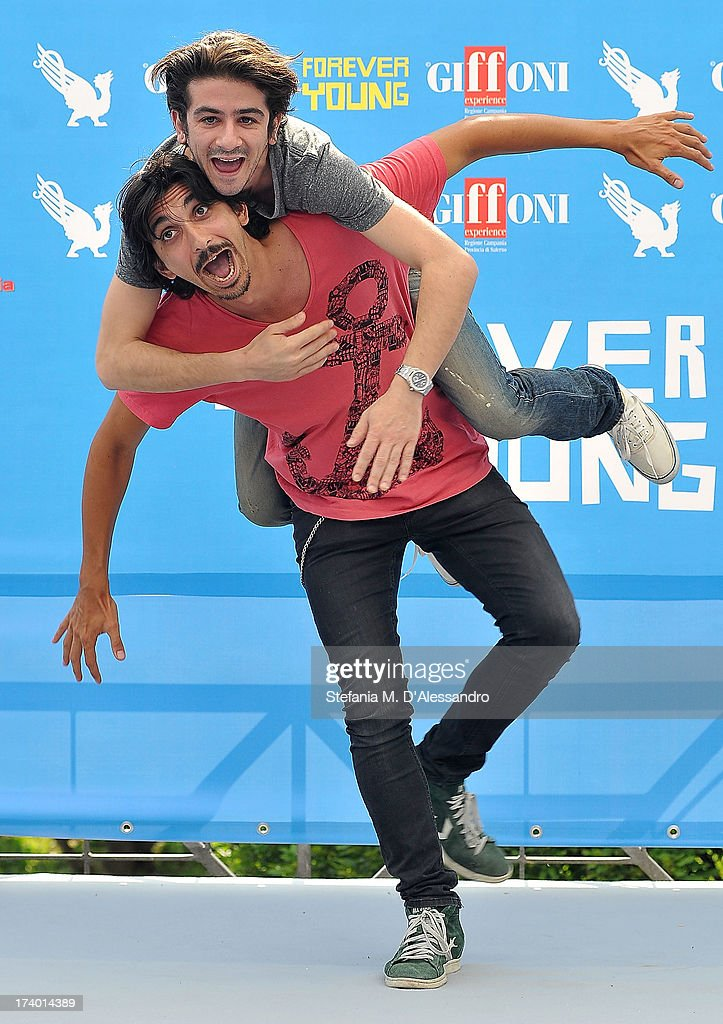 Francesco Biggio and Francesco Mandelli attend 2013 Giffoni Film Festival photocall on July 19, 2013 in Giffoni Valle Piana, Italy.