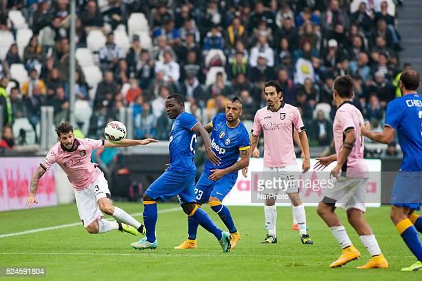 Francesco Bolzoni Arturo Vidal Kwadwo Asamoah and Eros Pisano during the Serie A match betweenJuventus FC and US Palermo at Juventus Stafium on...