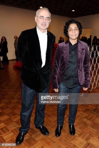 Francesco Bonami and Huma Bhabha attend WHITNEY BIENNIAL 2010 at The Whitney Museum on February 24 2010 in New York City