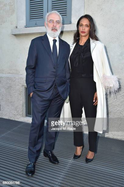 Francesco Bonami and Vanessa Riding attend a 'Private view of 'TV 70 Francesco Vezzoli Guarda La Rai' at Fondazione Prada on May 7 2017 in Milan Italy