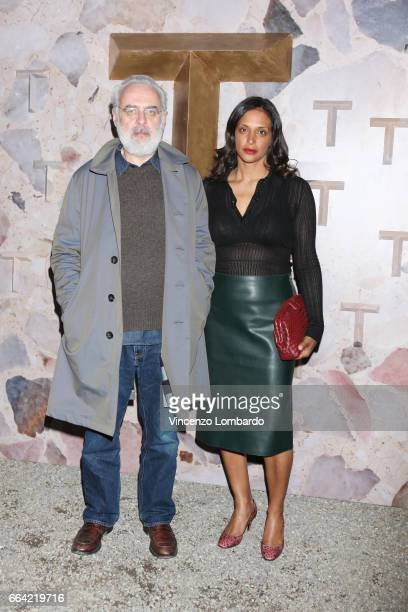 Francesco Bonami and Vanessa Riding attend 'T Magazine The New York Times' Celebration of Milan Design Week on April 3 2017 in Milan Italy