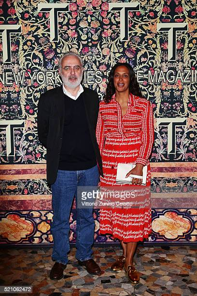 Francesco Bonami and Vanessa Riding attend the T Celebration of Culture Issue And Milan Design Week at Palazzo Crespi on April 11 2016 in Milan Italy