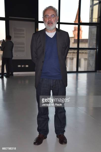 Francesco Bonami attends Andy Warhol Sixty Last Suppers exhibition private view and dinner party hosted by Gagosian Gallery at Museo del 900 on March...