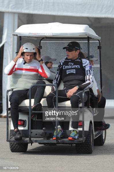 Francesco Bruni and Dean Barker attend America's cup World Series Naples on April 20 2013 in Naples Italy