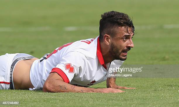 Francesco Caputo of AS Bari during the Serie B match between Catania Calcio and AS Bari at Stadio Angelo Massimino on October 12 2014 in Catania Italy