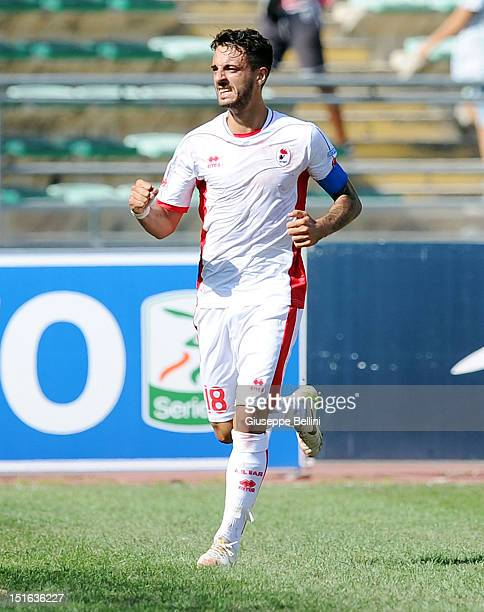 Francesco Caputo of Baricelebrates after scoring the goal 20 during the Serie B match between AS Bari and Ternana Calcio at Stadio San Nicola on...