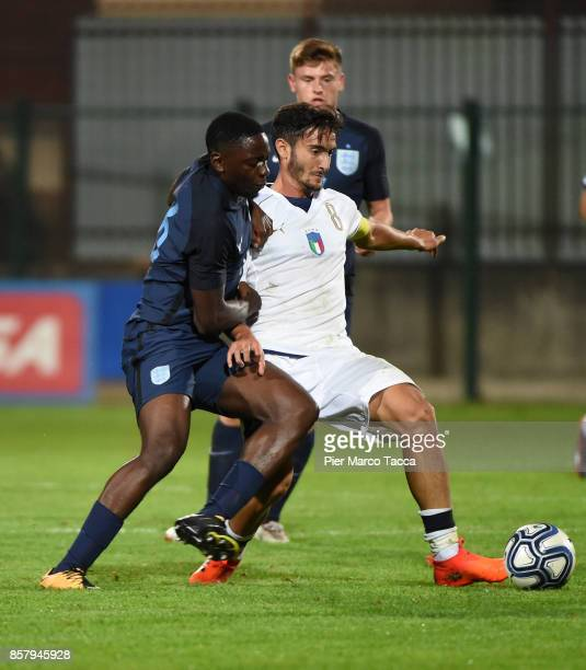 Francesco Cassata of Italy U20 competes for the ball during the 8 Nations Tournament match between Italy U20 and England U20 on October 5 2017 in...