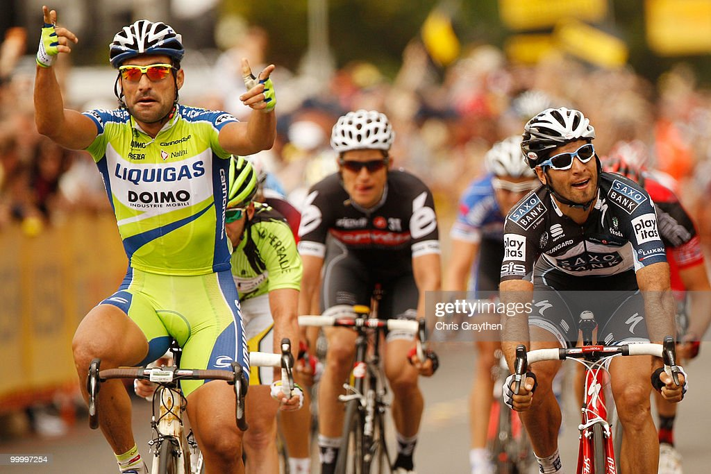 Francesco Chicchi of Italy, riding for team Liquigas-Doimo celebrates as he wins the sprint to the finish line on the fourth stage of the Tour of California on May 19, 2010 in Modesto, California.