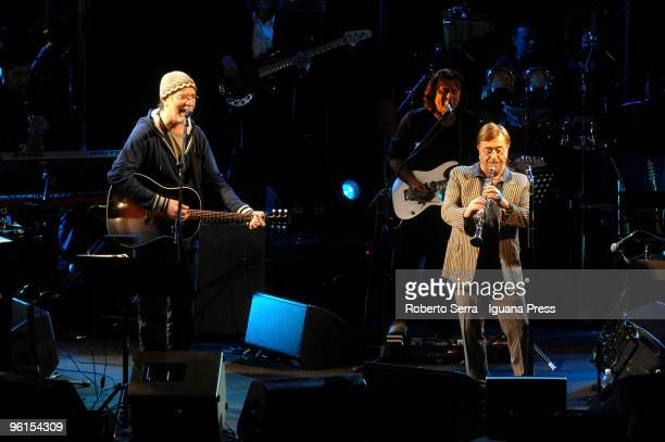 Francesco De Gregori and Lucio Dalla on stage at Vox for the reunion of the con certs on January 22 2010 in Bologna Italy