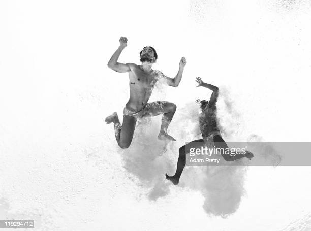 Francesco Dell Uomo and Maicol Verzotto of Italy compete in the Men's 10m Platform Synchro preliminary round during Day Two of the 14th FINA World...