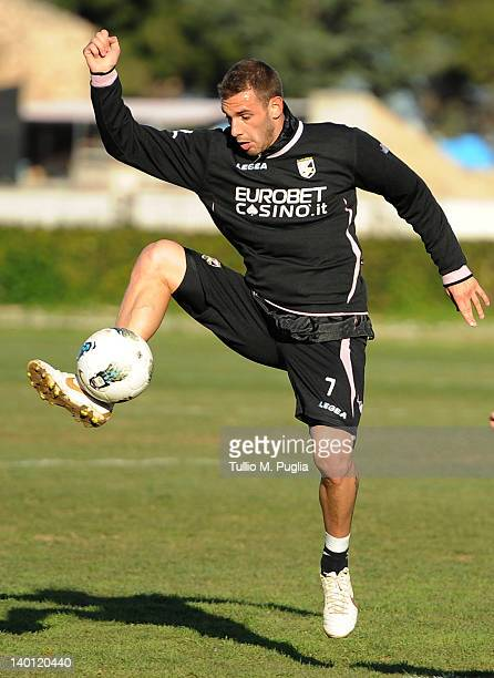 Francesco Della Rocca of Palermo in action during a Palermo training session at Tenente Carmelo Onorato Sports Center on February 28 2012 in Palermo...