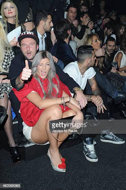 Francesco Facchinetti and Giulia Calcaterra attend the Philipp Plein show as a part of Milan Fashion Week Menswear Autumn/Winter 2014 on January 12...