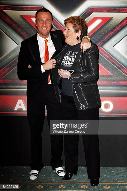 Francesco Facchinetti and Mara Maionchi attend 'X Factor' Italian TV Show press conference held at Westin Palace Hotel on January 9 2009 in Milan...